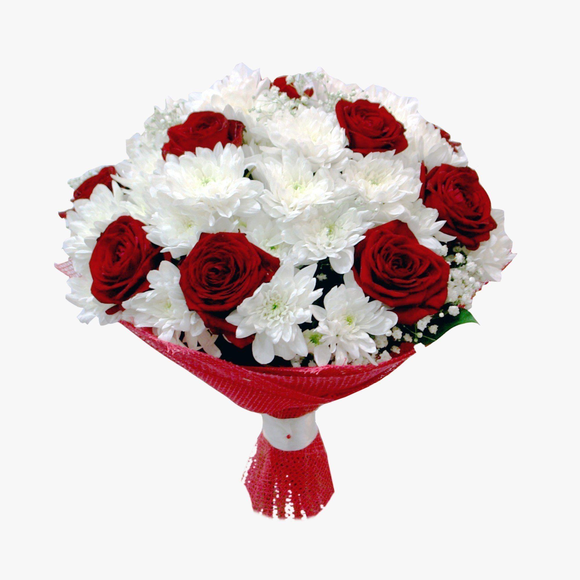 Невесты свадьбу, свадебный букет из красной кустовой розы и белой хризантемы